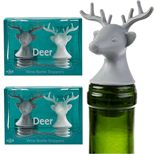4 Nod Deer Head Silicone Wine Bottle Stoppers Fun Unique Decorative Dining Bar