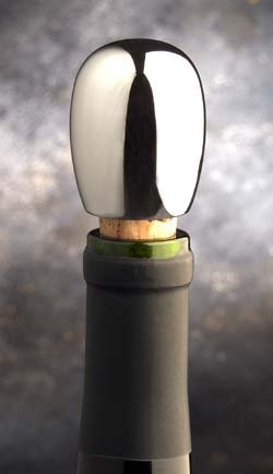 Chrome Bottle Stopper - Silver Pearl
