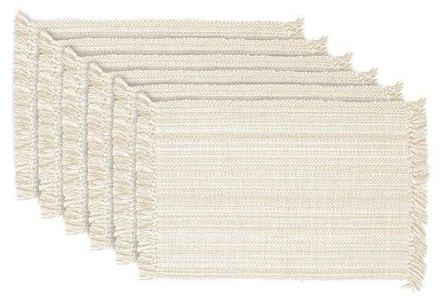 DII 100 Cotton Tonal Fringe Variegated Machine Washable Everyday Kitchen Basic Placemat Set of 6 Nautral