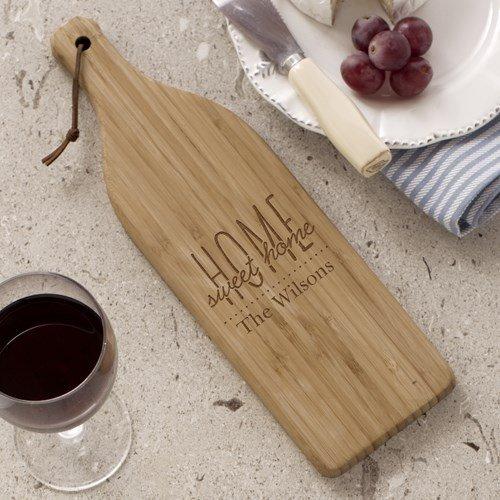 "Home Sweet Home Wine Bottle Cutting Board 4"" W x 1325 L Bamboo"