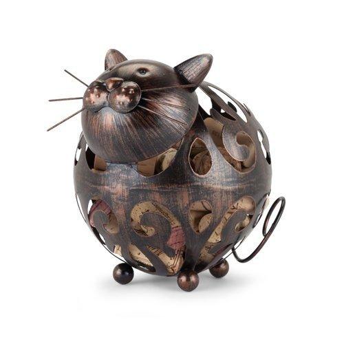 Cork Holder Wine Whiskers Cat Decorative Metal Rustic Animal Cork Holder