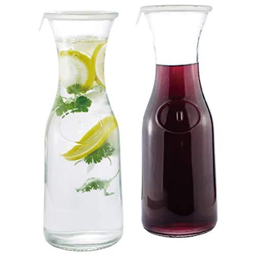 Glass Water or Wine Carafe- 1 Liter 2 wLids