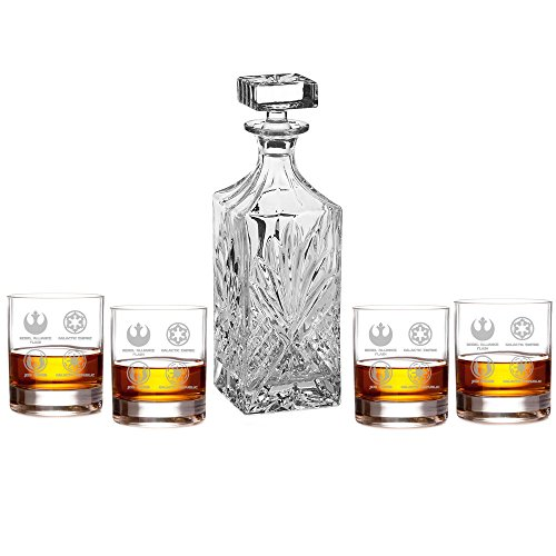 Abby Smith Star Wars Logos Silhouette Engraved Decanter Set with Rocks Glasses