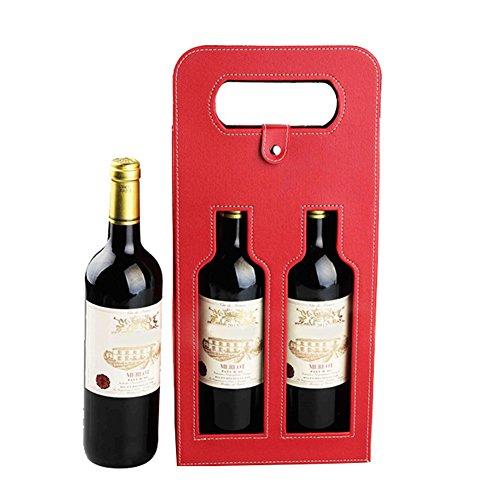 Hangnuo Luxury 2 Bottles Wine Gift Bag Wine Carrier Bag Red