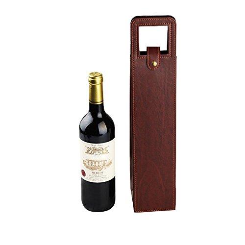 Hangnuo Luxury One Bottle Wine Gift Bag Wine Carrier Bag Brown