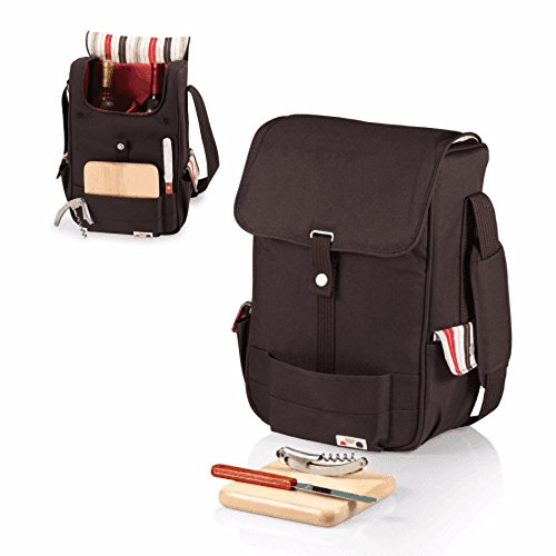 Wynefluent Insulated Wine Travel Bag and Picnic Set Including 1 Stainless Steel Wine Cork 1 Cheese knife 1 Wood Cheese Cutting Board