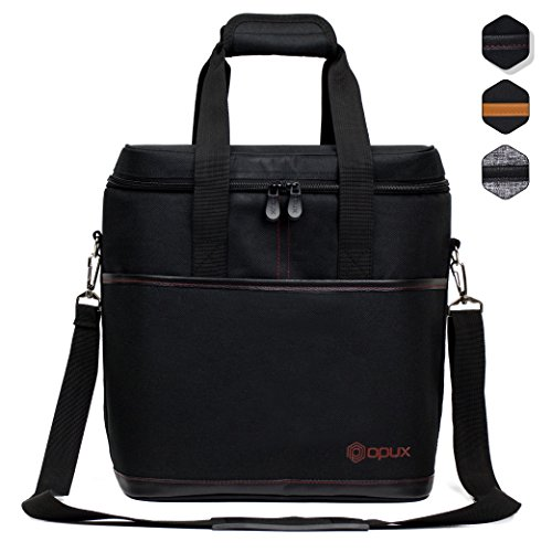 Premium Insulated Wine Bag by OPUX  Elegant Wine Carrying Tote Extra Protection Convenient Durable Wine Bottle Carrier 6 Bottle Black