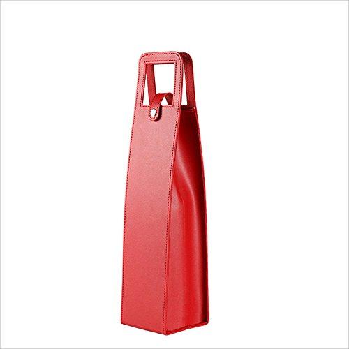PER-HOME 1-Bottle Leather Wine Tote Bag Holder Reusable Gift Bag