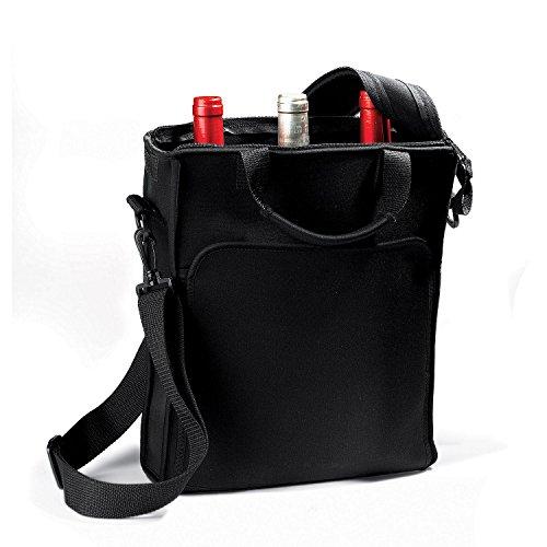 3-Bottle Pockets Neoprene Black Wine Carrier Tote Bag w Included Chiller Pack