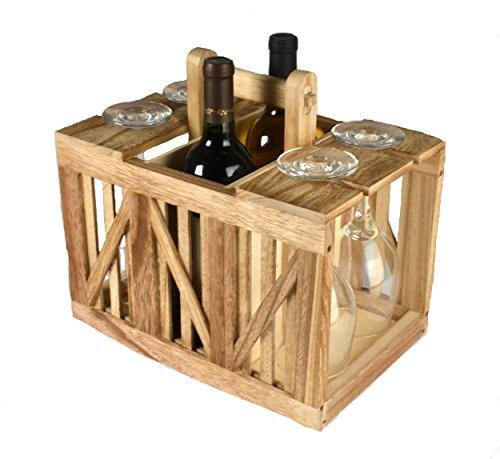 Artland 22109A Home Mixology Wine Caddy Wood Crate Beige