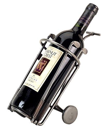 H K Sculptures Golf Bag Wine Bottle HolderWine Caddy  Silver