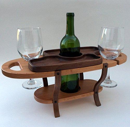 Handmade wood wine caddy tabletop wine bottle rack wine glass holder