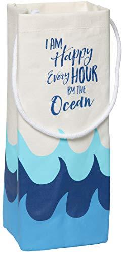 CR Gibson Beach House and Nautical Décor Blue Wave I Am Happy Every Hour By The Ocean Canvas Wine Bag 4 W x 125 H