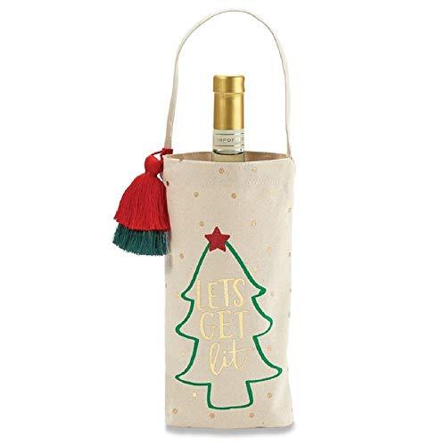 Lets Get Lit Tassel Canvas Holiday Wine Bag