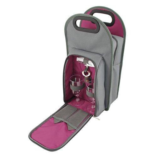 Metro 2 Bottle Wine Tote Bag  Picnic Set - Truetap Corkscrew Bottle Stopper Acrylic Wine Glasses Napkins