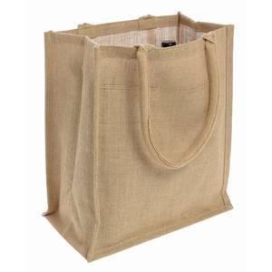 Natural Jute Burlap 6 Bottle Wine Tote Bag Reusable Jute Wine Carrier w Divider 1