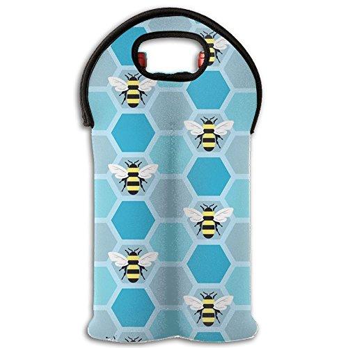 Bee Honeybee Hard Case Wine Carrier 2 Bottle Beverages Bottle Holder Lightweight For Beach rnBlock Parties Wine Tote Bag
