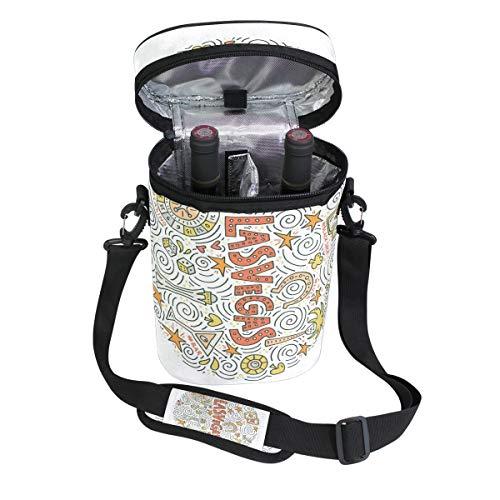 Jacksome Las Vegas Wine Travel Carrier Cooler Bag - Chills 2 bottles of wine or champagne