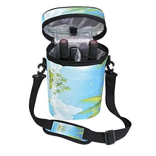 Jacksome Palm Wine Travel Carrier Cooler Bag - Chills 2 bottles of wine or champagne