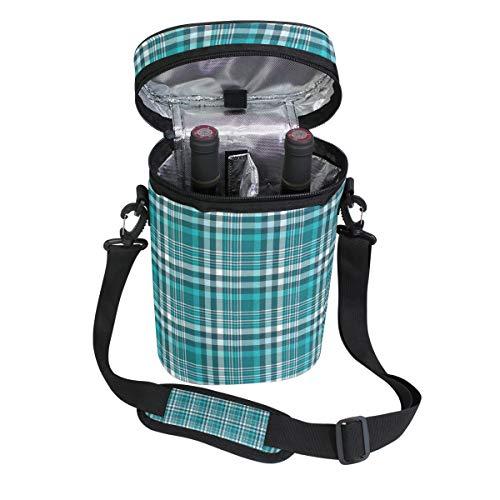 Jacksome Plaid Wine Travel Carrier Cooler Bag - Chills 2 bottles of wine or champagne