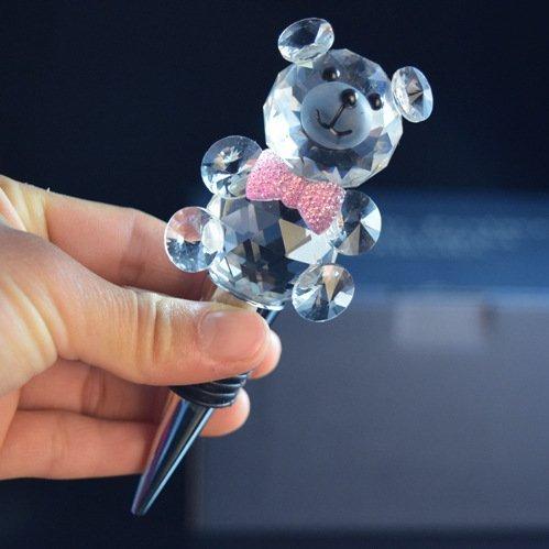 Diamond Crystal panda design Wine Bottle Stopper Wine Saver Sealer with Gift Box pink