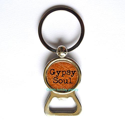 Bottle opener Keychain Gypsy Soul - Boho Chic - Gypsy Bottle opener Keychain- Gypsy Soul Bottle opener Keychain- Bohemian Jewelry - Hippy Jewelry - Free Spirit Bottle opener Keychain