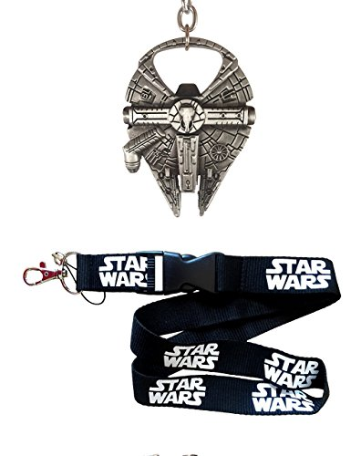 Millennium Falcon Bottle Opener 4pc Gift Set - Fully Functional Metal Star Wars Millenium Keychain Opener  Lanyard  2 Bonus Fan items
