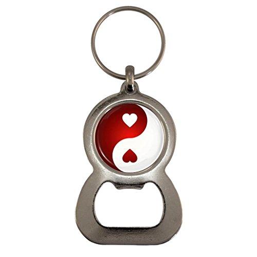 Love Heart Yin Yang Metal Bottle Opener Keyring in Gift Box