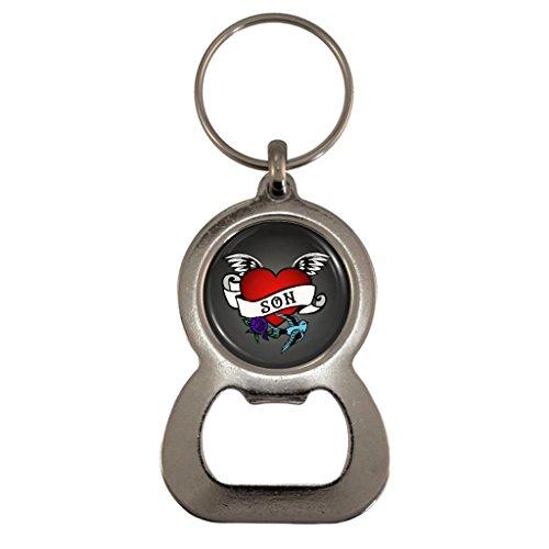 Tattoo Heart Son Metal Bottle Opener Keyring in Gift Box