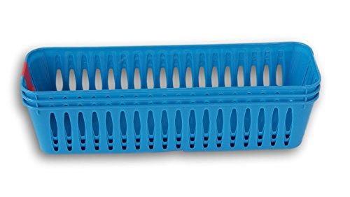 Greenbrier Slim Plastic Storage Trays Pencil Baskets in Blue - Set of 3