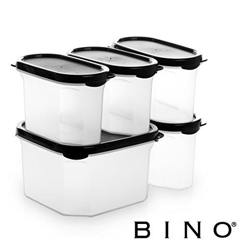 BINO 10-Piece Airtight Stackable Kitchen Storage Container Pantry Set Black