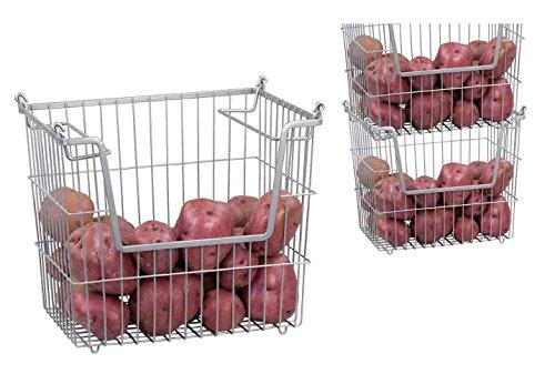 Home Basics Stackable Metal Pantry Organizer Basket - Space Saving Home and Kitchen Storage Bin Solution 3