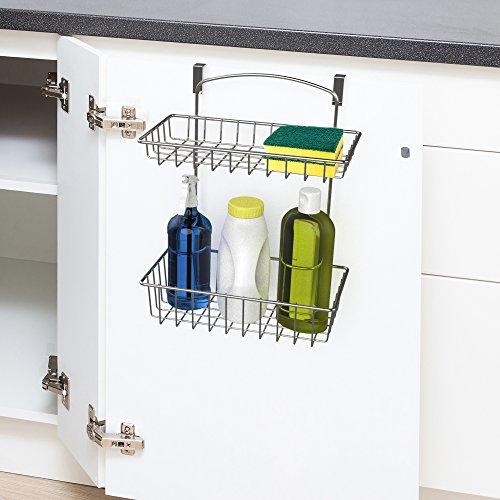 Over The Cabinet Kitchen Storage Organizer- 2 Tier Basket Shelf for Kitchen and Bathroom Organization by Classic Cuisine Chrome