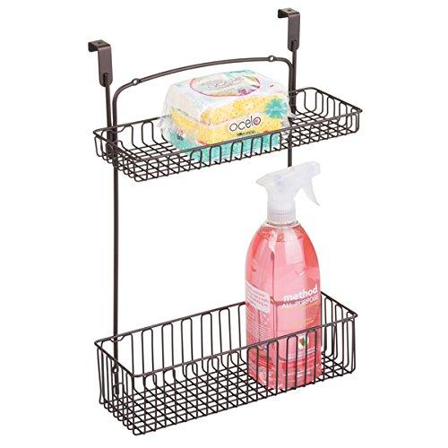 mDesign Over-the-Cabinet 2-Tier Storage Shelf – Kitchen Storage Wire Hanging Basket – Bronze
