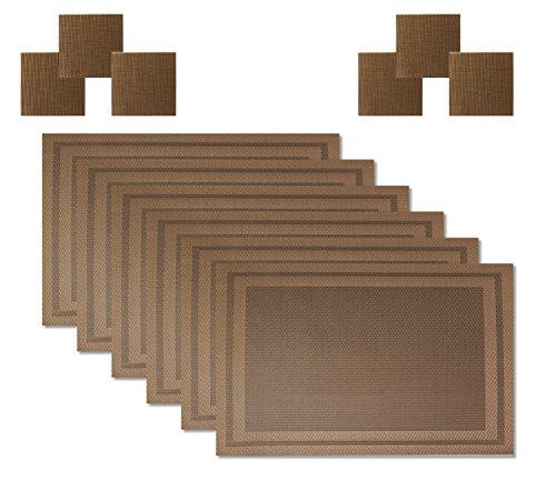 HomeProMart Premium Everyday Placemats Set of 6 Bonus 6 Coasters Woven Vinyl Heat Resistant Indoor Outdoor Placemats BrownR2