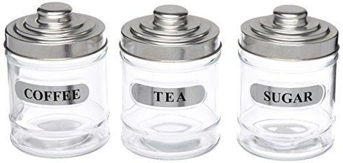 bulk buys OF983 Labeled Glass Coffee Sugar Storage Jar Set