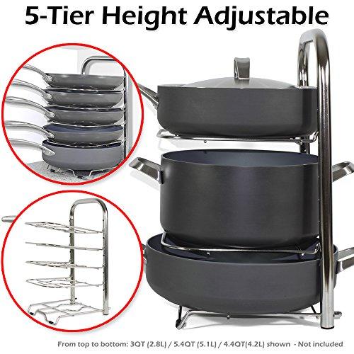 BTH Height Adjustable Pot Pan Organizer Rack 5-Tier 10 11 12 Inch Heavy Duty Kitchenware Cookware Pot Rack Holder Kitchen Cabinet Countertop Stainless Steel Storage Solution