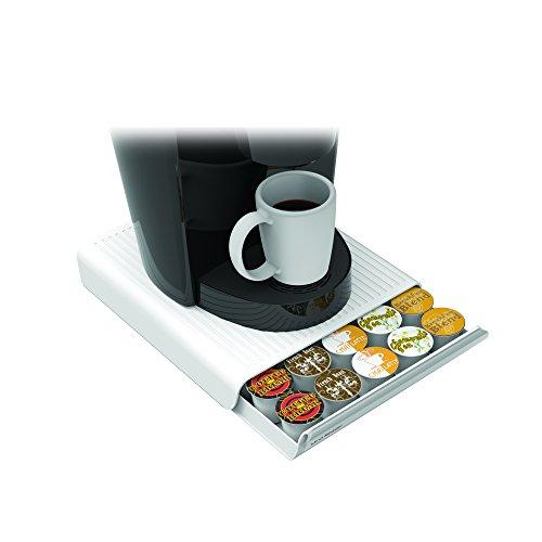 Mind Reader Coffee Pod Storage Drawer for K-Cups Verismo Dolce Gusto Holds 30 K-Cups 35 CBTL Verismo Dolce Gusto White