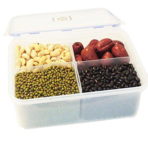DaWa Plastic box Four Grid Crisper Separate Food Box 2100ML Cereal Storage Box Sealed Box