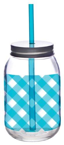 Slant Aqua Gingham Glass Mason Jar with Lid and Straw Set of 2