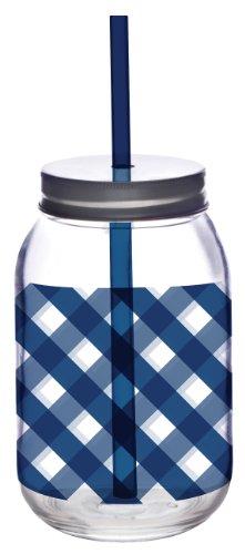 Slant Blue Gingham Glass Mason Jar with Lid and Straw Set of 2