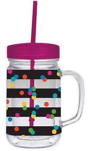 Slant Glass Mason Jar with Lid and Straw Confetti on Stripes Set of 2