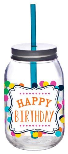 Slant Happy Birthday Glass Mason Jar with Lid and Straw Set of 2