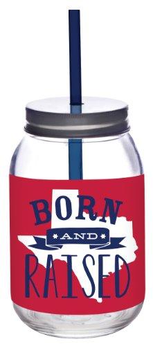 Slant Texas Born and Raised Glass Mason Jar with Lid and Straw