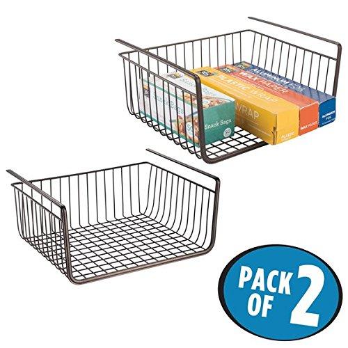 mDesign Under Shelf Hanging Wire Storage Basket for Kitchen Pantry Cabinet - Pack of 2 Bronze