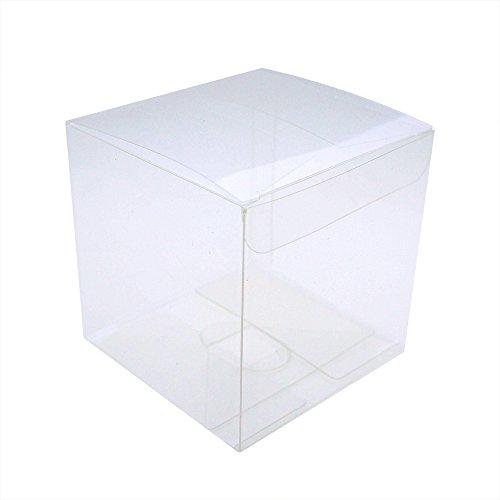 MYStar 50 Pcs 354 9 cm Clear Plactic Cubes Tuck Top PVC Boxes for Cupcake Wedding Party Favor