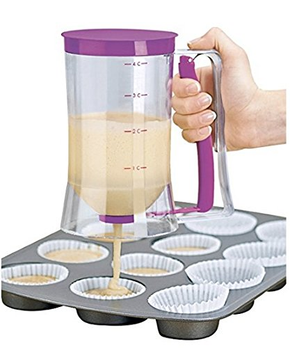 AKLUER New Cupcake Batter Dispenser Great for Making WafflesPancakesSauces and more presentable food - 4 Cup Capacity