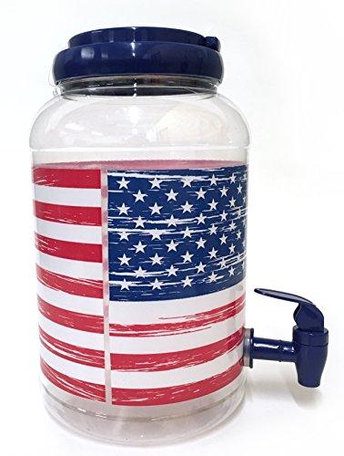 Classic American Sun Tea Jar 4 Tumblers Blue Stars and Stripes
