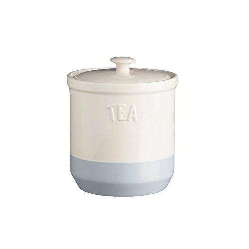 Mason Cash Bakewell Stoneware Tea Jar 34-Fluid Ounces Cream Blue