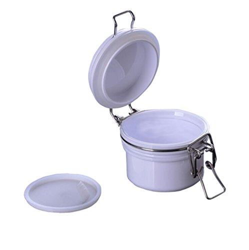 TOPWEL 200g Round White PET Plastic Latch Lid Cosmetic Storage Hermetic Jars1